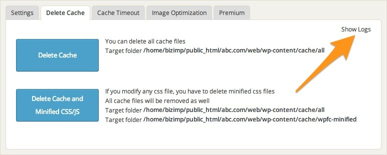 Delete Cache Logs Button