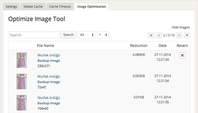 WP Fastest Cache Image Optimization Tool Image List