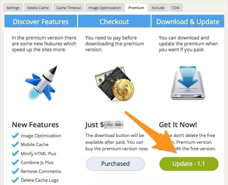 Update Premium Page